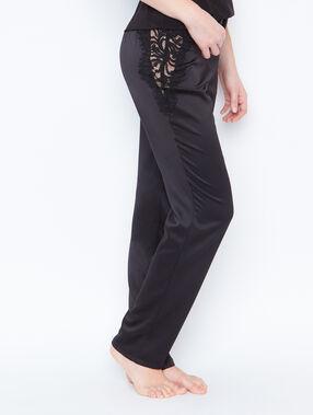 Pantalon satin dentelle noir.