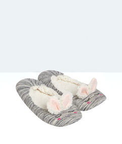 Baleriny wyściełane futerkiem, detal uszka króliczka gris.