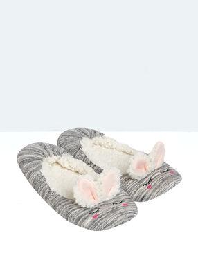 Ballerines intérieur fourré, détail oreilles de lapin gris.