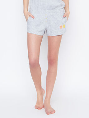 Smiley printed pyjama short grey.
