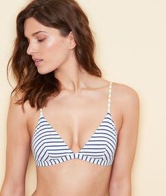 Haut de maillot de bain triangle sans armature rayé marine.