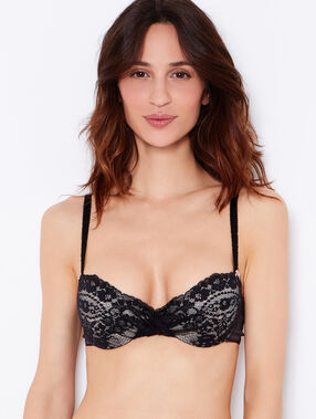 Lace and satin padded demi cup bra black.
