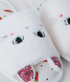 Mules imprimé chat en éponge blanc.