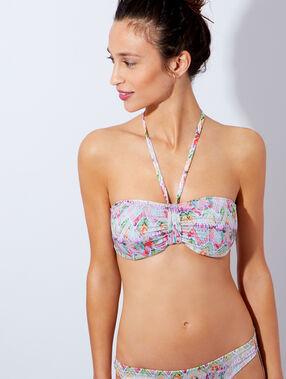 Haut de maillot de bain bandeau mono coque imprimé rose / violet / vert / jaune.