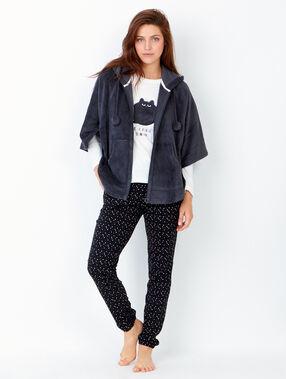 Pyjama 3 pièces, veste toucher polaire anthracite.