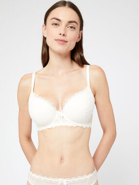 Lace padded demi cup bra, d cup white.