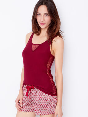 Top en viscose, empiècements dentelle bordeaux.