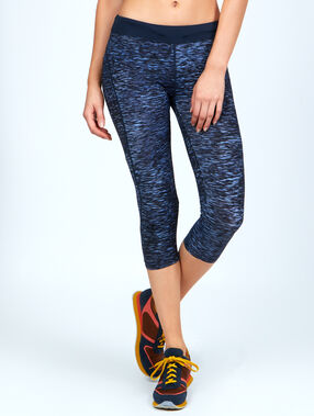 Croped pants, ultra-strech and ultra-breathable material, reflecting details blue.