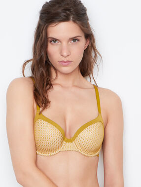 Padded demi cup bra yellow.