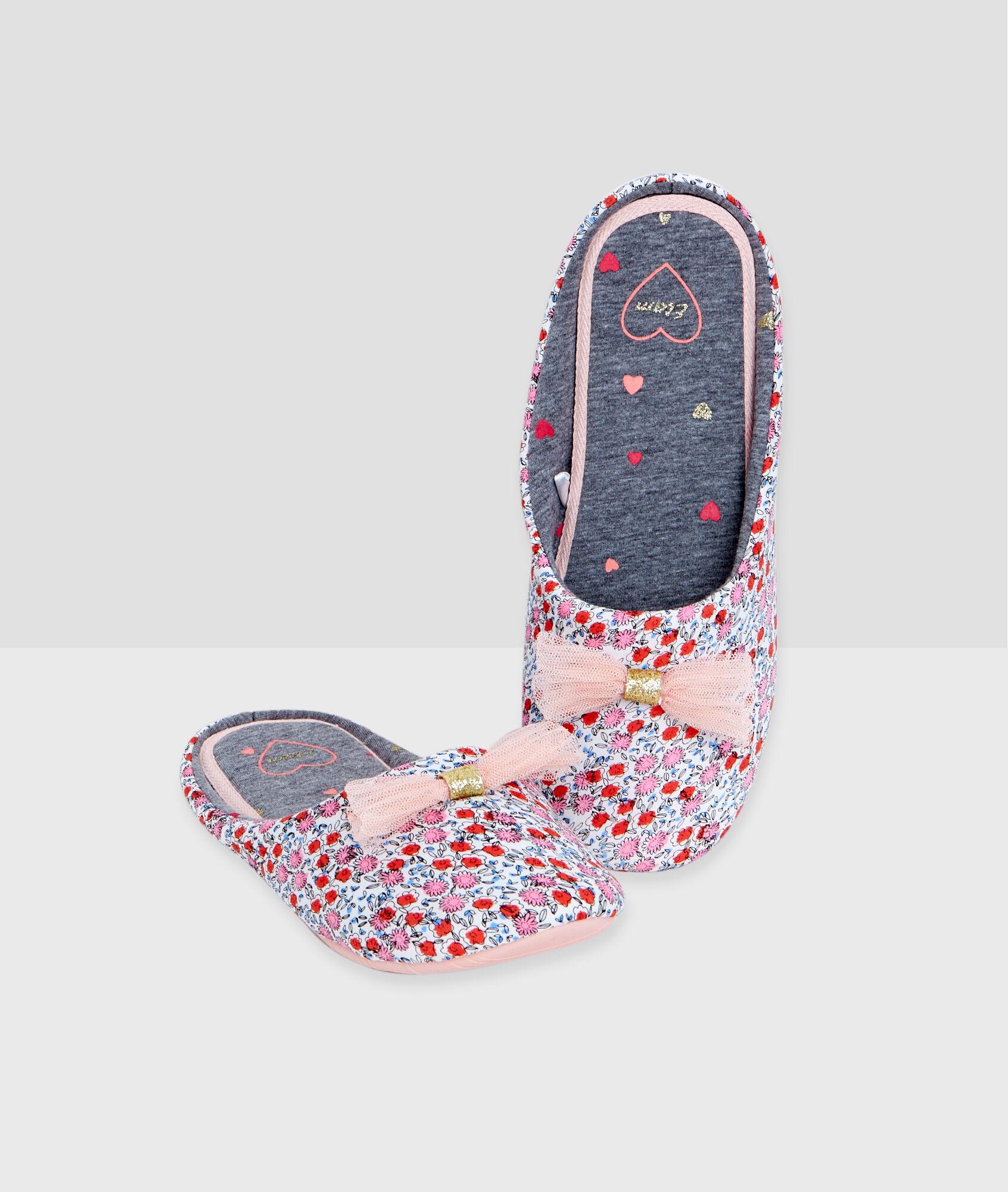 Zapatillas estampado floral y pompones pomme naranja etam - Pompones para zapatillas ...