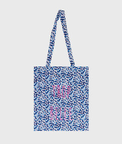 Pinted tote bag blue.