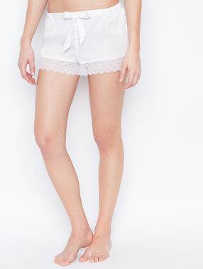 Lace pyjama shorts white.