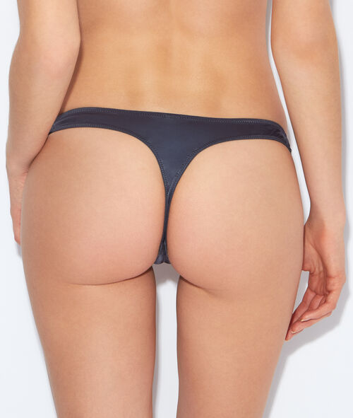 Lace and satin thong;${refinementColor}
