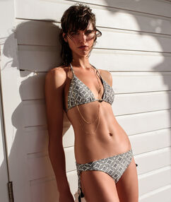 Sujetador bikini triangular estampado  negro.