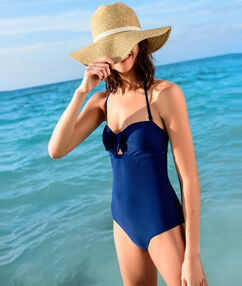 One-piece swimsuit blue.