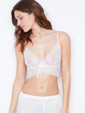 Lace crop top white.