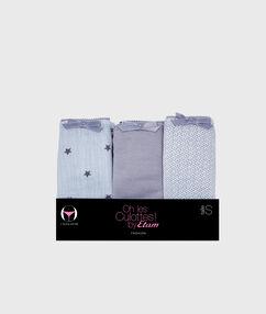 Lot de 3 culottes coton imprimé gris.