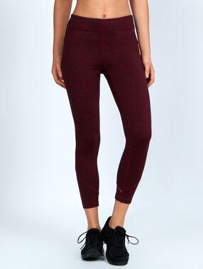 Pantalon 7/8 ultra-strech, effet galbant, avec détails réfléchissants bordeaux grenat.