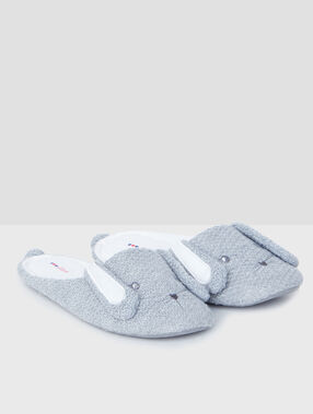 Bunny knit slippers grey.