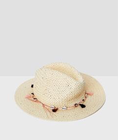 Sombrero con conchas crudo.