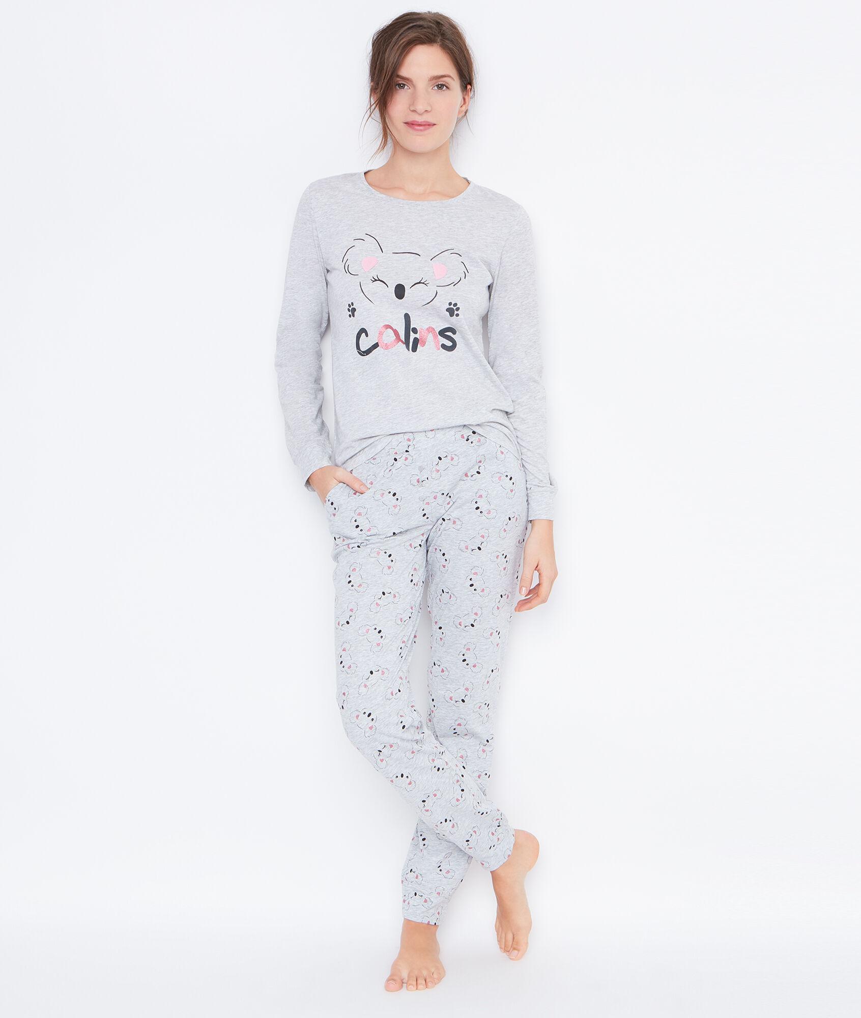 forever pyjama 3 pi ces pantalon imprim et veste toucher polaire etam. Black Bedroom Furniture Sets. Home Design Ideas