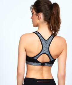 Biustonosz sportowy, na plecach wycięcie w stylu bokserskim gris / noir.