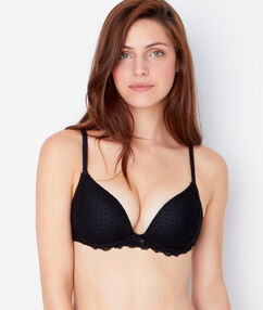 Soft bra : push up sans armatures tulle flocké et empiècement dentelle noir.