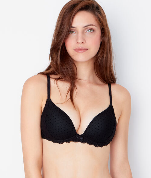 SOFT BRA : Push up sans armatures tulle flocké et empiècement dentelle