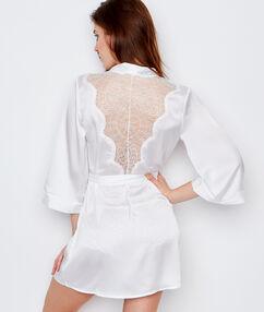 Szlafrok kimono z koronkowymi plecami blanc.