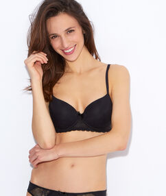 Micro and lace padded demi cup bra black.