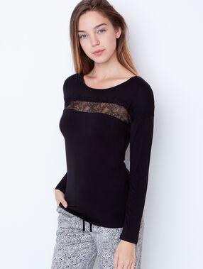 Piżama trzyczęściowa, szlafrok z wnętrzem futerkowym noir.