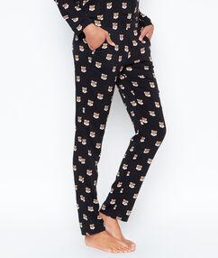 Tiger printed pyjama pants black.