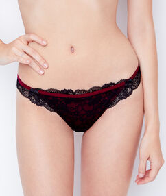 Lace and satin tanga burgundy / black.