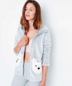 Veste zipée toucher peluche gris clair.