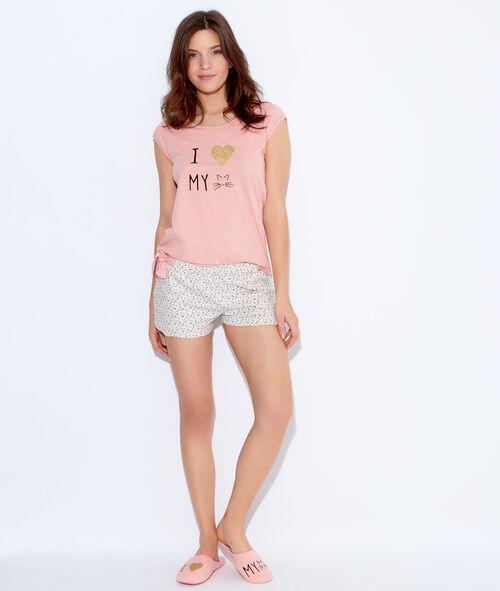 Pantalón corto con estampado triángulos;${refinementColor}
