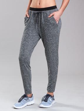 Pantalon fluide chiné gris/noir.