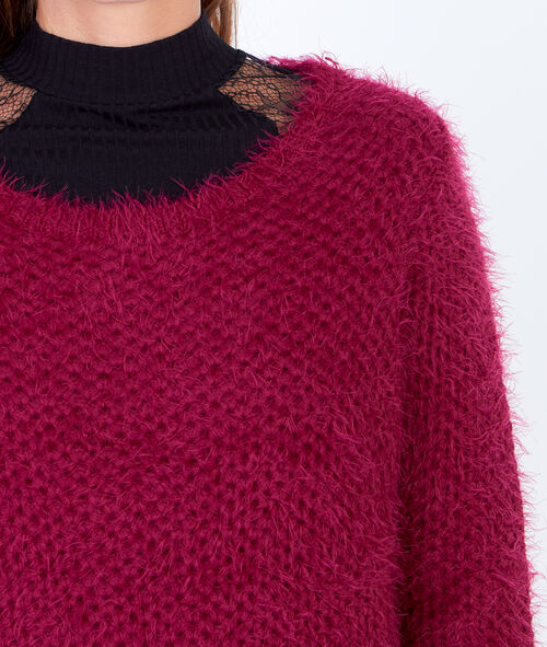 Fluffy knit jumper with round collar