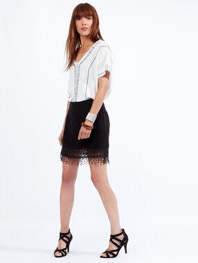 Guipure cotton skirt black.