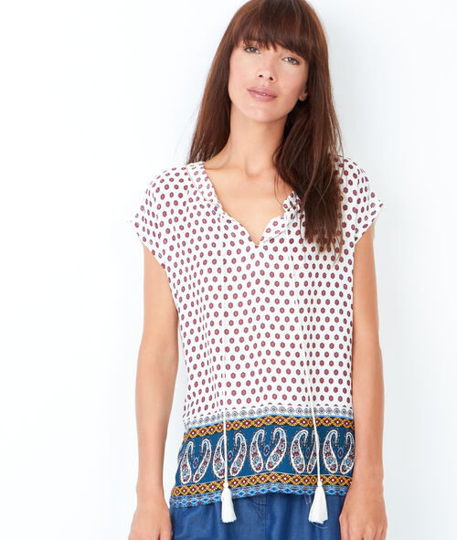 Printed top with pompoms