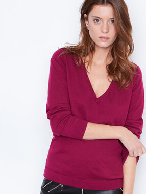 V-neck cashmere cotton sweater plum.