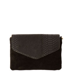 Split leather clutch black.