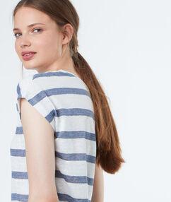 Striped top blue.