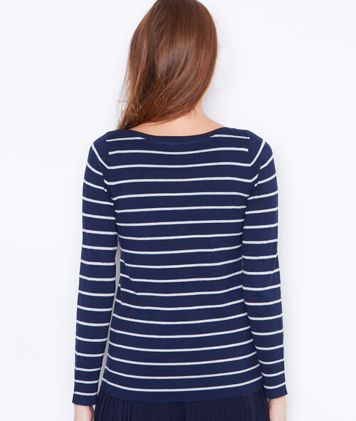 Striped jumper with slash neck