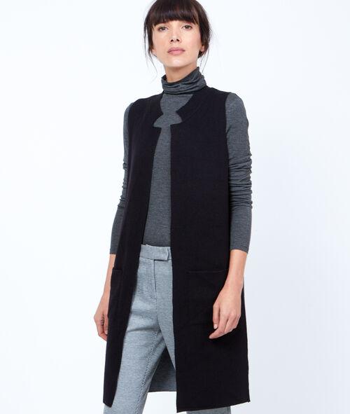 Gilet long en tricot sans manches