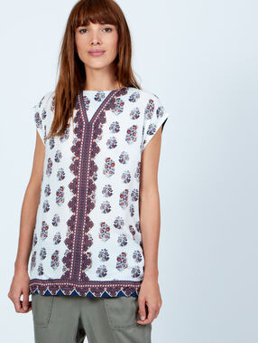 Ethnic print top purple blue.