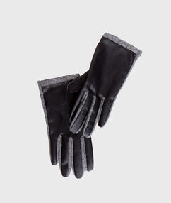 Faux leather and wool gloves light grey.