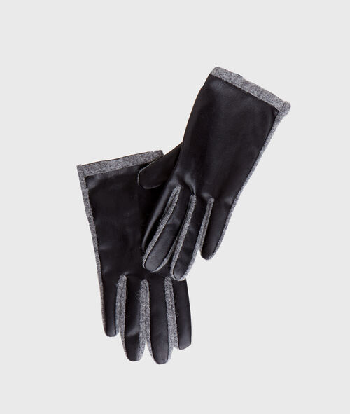 Faux leather and wool gloves