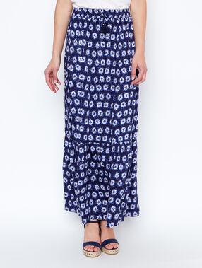 Jupe longue imprimée bleu.