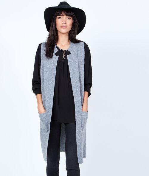 Long sleeveless cardigan