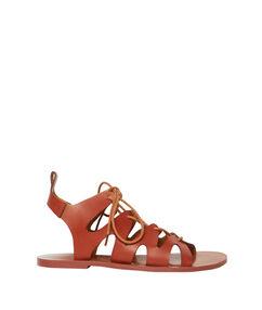 Sandales à lacets camel.